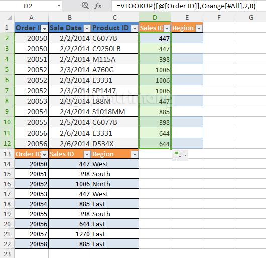Kéo hàm VLOOKUP xuống các dòng dưới