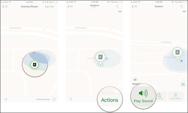 Nhấp chọn Actions trong ứng dụng Find My iPhone