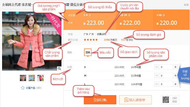 Tìm hiểu về những thông số sản phẩm trên Alibaba