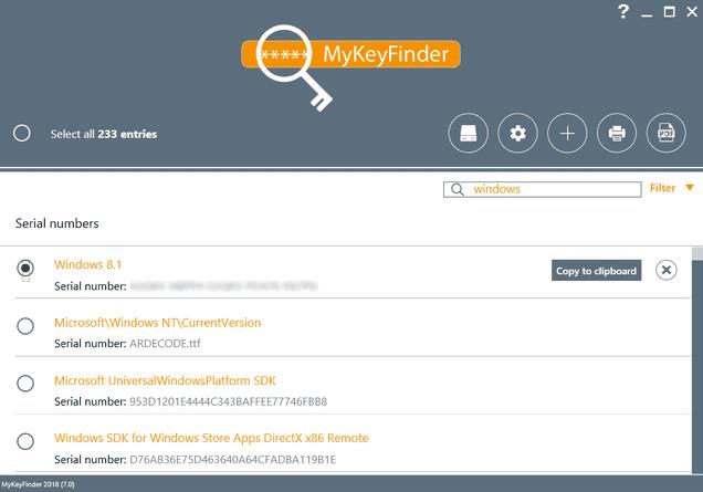 Công cụ tìm key MyKeyFinder của Abelssoft