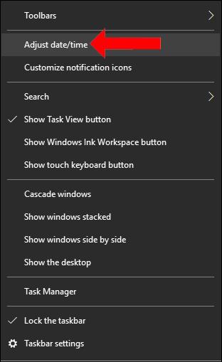 Thay đổi thời gian Windows 10