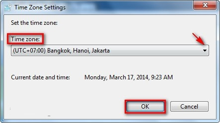 Thay đổi Time zone Windows 7