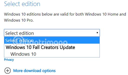 Chọn phiên bản Windows 10 cần tải