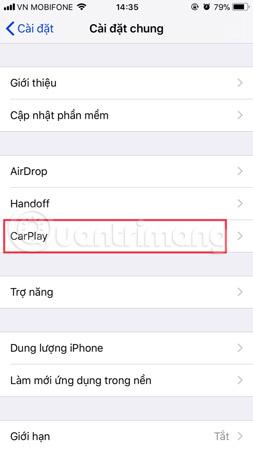 Chọn CarPlay trong Cài đặt chung