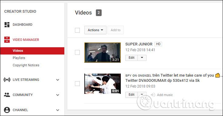 Danh sách video tải lên Youtube