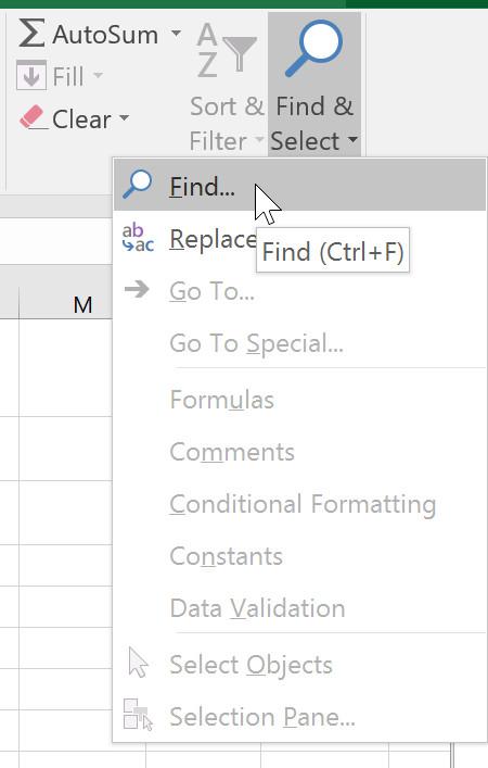 Từ tab Home(Trang chủ), hãy nhấp vào lệnh Find and Select, sau đó chọn Find từ trình đơn thả xuống.