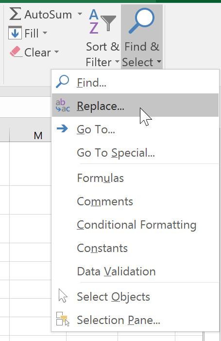 Chọn Replace (Thay thế) từ trình đơn thả xuống.