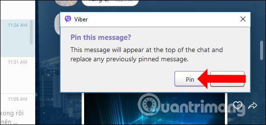 Xác nhận ghim tin nhắn Viber