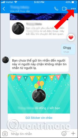 Giao diện nhắn tin trên Zalo