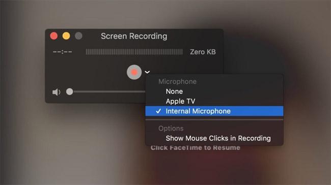 Chọn microphone muốn dùng để ghi âm hoặc chọn Internal Microphone nếu không dùngmicrophone gắn ngoài.