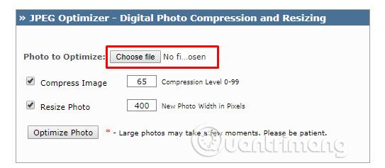 Chọn file ảnh tải lên trang JPEG-Optimizer