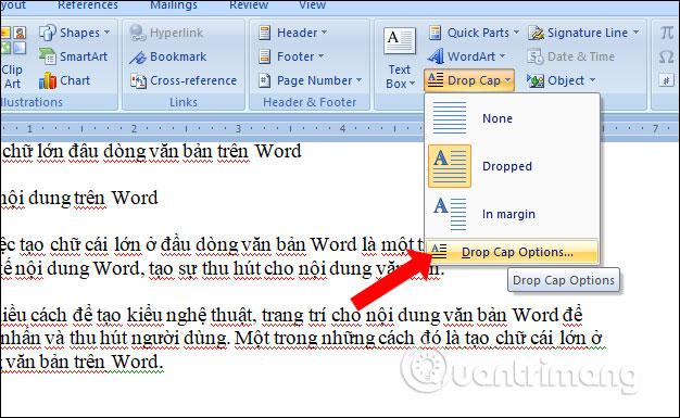 Cách tạo chữ lớn đầu dòng văn bản trên Word