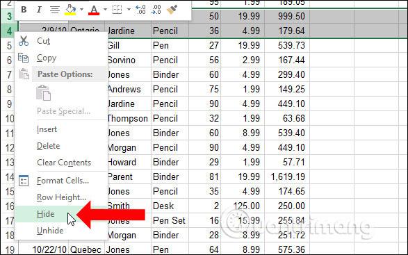 Ẩn cột Excel