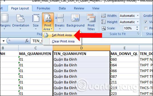 Đặt vùng in Excel