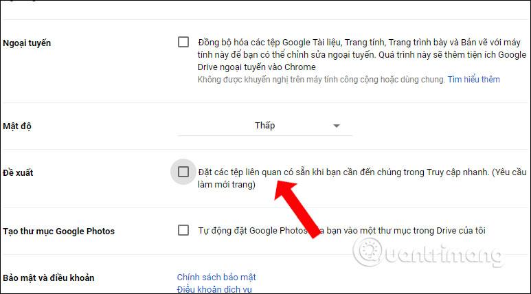 Tắt Đề xuất Google Drive
