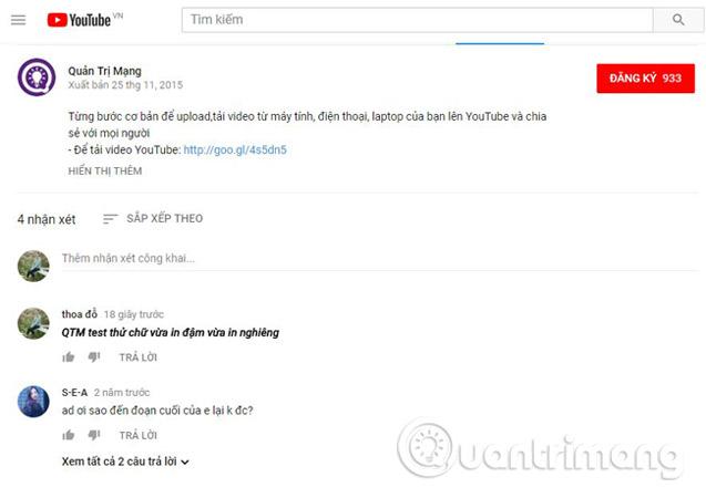 Cách viết chữ vừa in đậm, vừa in nghiêng trong Comment Youtube, G+