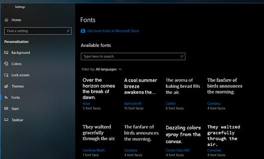 Người dùng có thể tải và sử dụng các Font mình muốn từ Windows Store