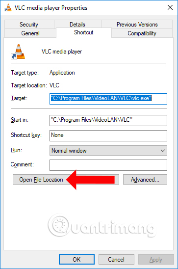 Nhấn chọn Open File Location