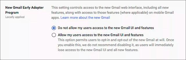 Các tài khoản G Suite cần người quản trị cho dùng Gmail mới