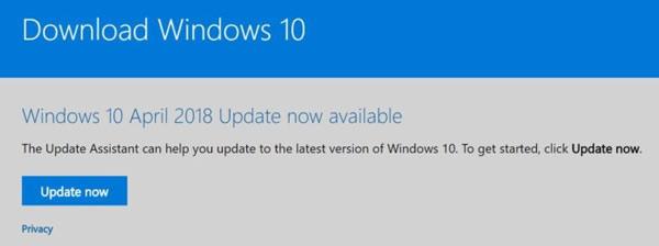Cài đặt Windows 10 April 2018 Update thủ công