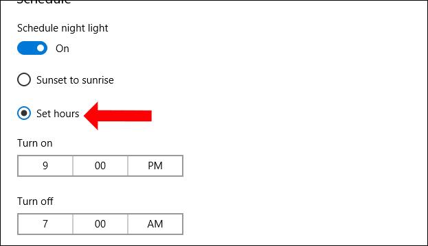 Cách tự động giảm ánh sáng xanh Windows 10 April 2018