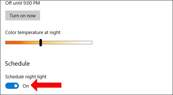 Lên lịch bật Night light
