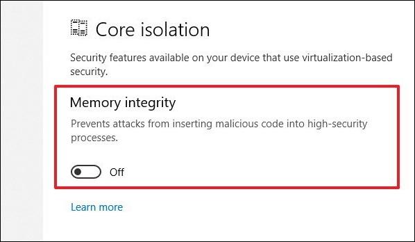 Cách bật tính năng bảo vệ Core isolation trên Windows 10 April 2018 - Ảnh minh hoạ 4