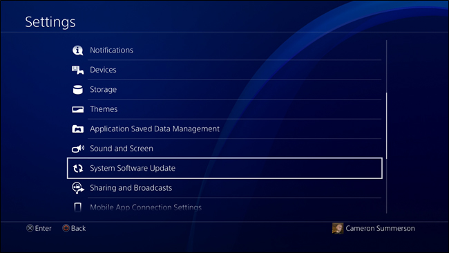 Giao diện Settings PS4