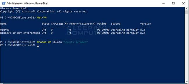 Sử dụng lệnh REname-VM