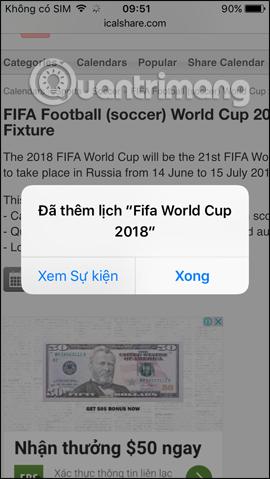 Đã thêm lịch World Cup 2018 vào iPhone
