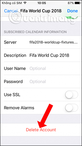 Xóa lịch World Cup 2018 iPhone
