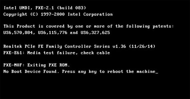 Cách khắc phục lỗi PXE-E61: Media Test Failure, Check Cable