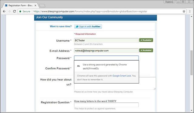 Mật khẩu vừa được Chrome tạo cho tài khoản