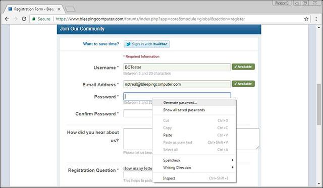 Google tự tạo mật khẩu
