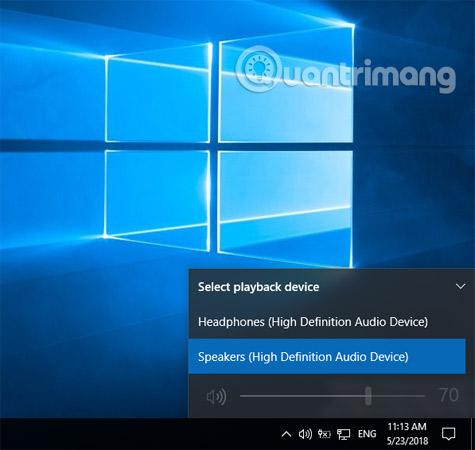 Hướng dẫn chuyển đổi tai nghe và loa trên Windows 10