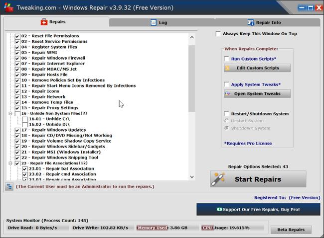 Tweaking.com Windows Repair Tool