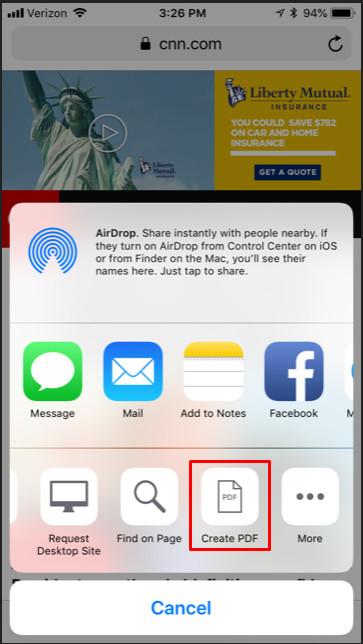 Chuyển đổi trang web thành file PDF trên iPhone