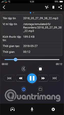 File ghi âm sẽ lưu vào bộ nhớ trong thiết bị
