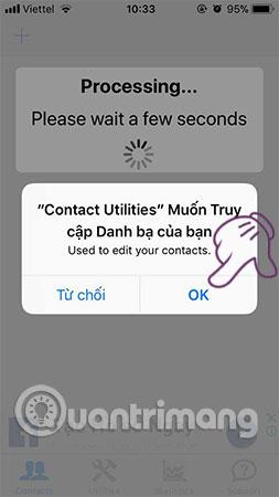 Cấp quyền truy cập danh bạ cho ứng dụng