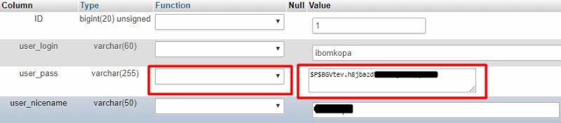 Chỉnh sửa cột user_password