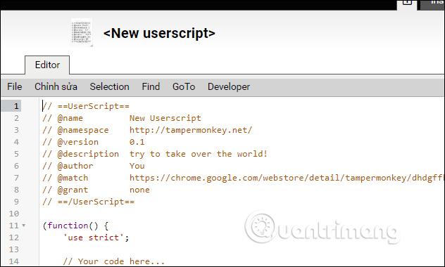 Nhập code vào nội dung