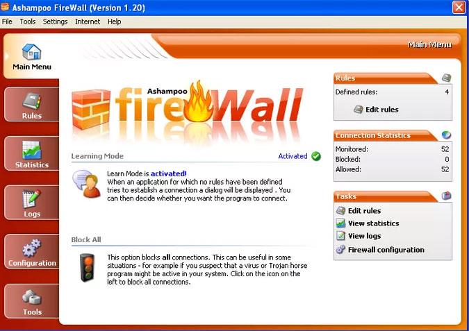 Phần mềm Ashampoo FireWall