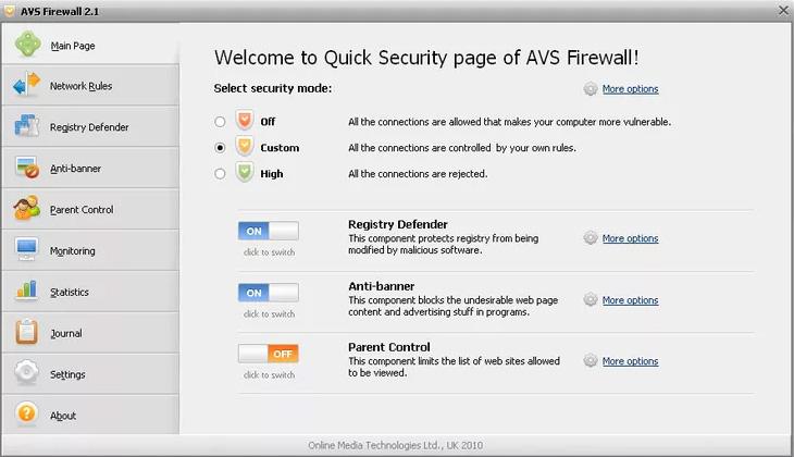 Phần mềm AVS Firewall