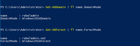 sử dụng Get-ADDomain | fl Name,DomainMode và Get-ADForest | fl Name,ForestMode