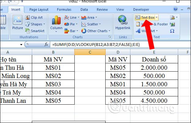 Cách tạo Text Box trong Excel
