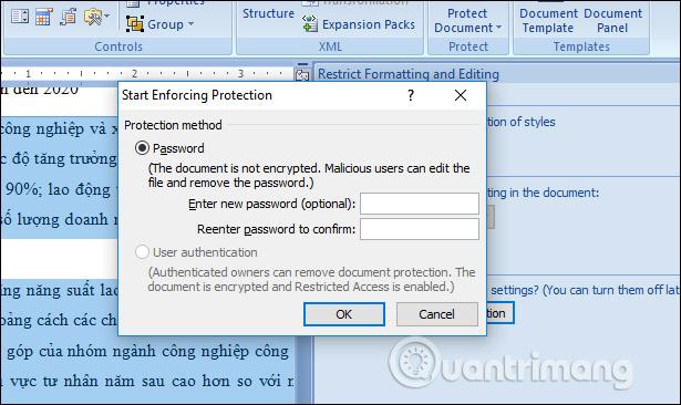 Mật khẩu bảo mật vùng dữ liệu
