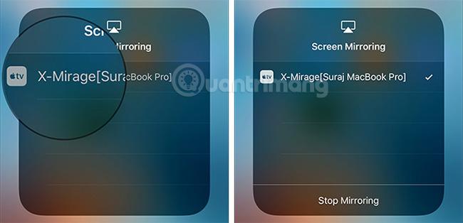 Chọn thiết bị muốn chiếu màn hình iPhone lên