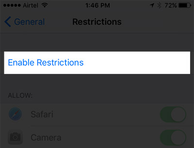 Bật Enable Restrictions