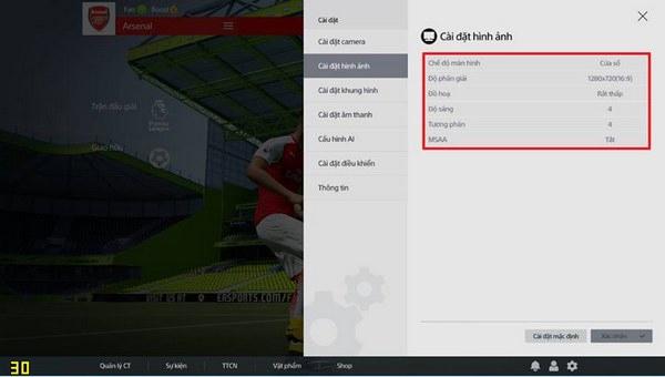 Cài đặt hình ảnh FIFA Online 4