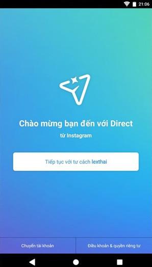 Direct sẽ kiểm tra và nhận diện tài khoản Instagram đang được sử dụng trên thiết bị